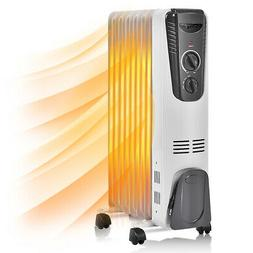 1500W Electric Oil Filled Radiator Space Heater 5.7 Fin Ther