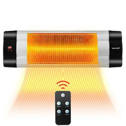 1500W Infrared Patio Heater w/Remote Control& 24H Timer for