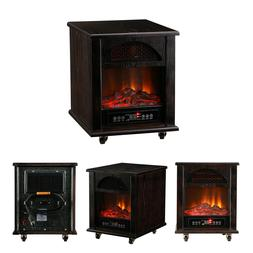 1500W Portable Electric Fireplace Space Heater Dark Walnut H