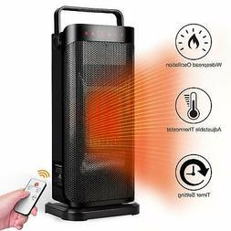 Electric Space Heater Portable Oscillating Ceramic Tower Rem