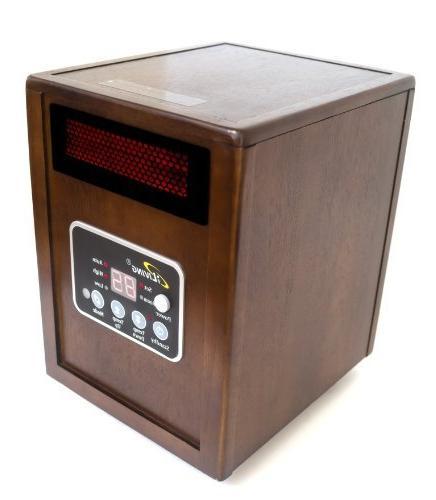 iLIVING Portable Space Heater System, 1500W, Dark Walnut Cabinet