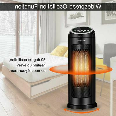 Portable Oscillating Space Heater 12H Timer Remote