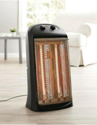 quartz electric tower space heater indoor black