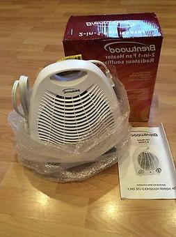 New Brentwood Portable Compact Space Heater Fan White & Cool